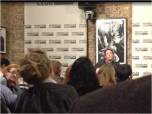 """Saving Syria's Children cameraman, director and producer Darren Conway at the Frontline Club, London  on 14 October 2014, responding to my question about the time of the alleged 26 August 2013 school incendiary bomb attack: """"It was the end of the day, yeah, I mean I don't remember the exact time… …I would say it was around, I don't know, between three and five, something like that."""" (Mobile phone footage http://1drv.ms/1DfBr2T)."""