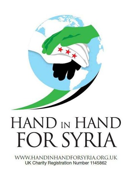 Original logo of Hand in Hand for Syria displaying  the three stars of the Free Syrian Army/Syrian National Council emblem