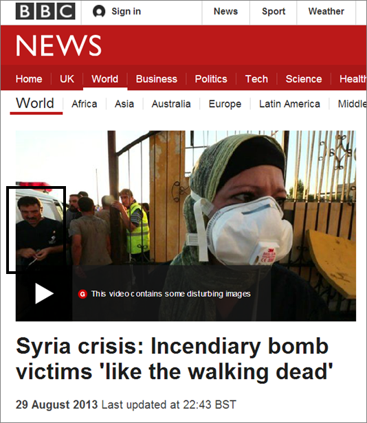 The medic at Atareb Hospital gate with Dr Rola Hallam in the foreground in Ian Pannell and Darren Conway's 29 August 2013 BBC News report