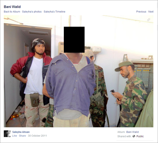Image of captive in Libyan conflict published on Dr Saleyha Ahsan's Facebook account from 30 October 2011 to shortly prior to 10 September 2015 (original image, showing captive's face, provided upon request)
